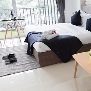 Lamanated flooring and rug in a bedroom