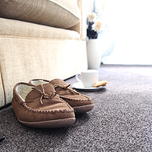slippers on a carpet